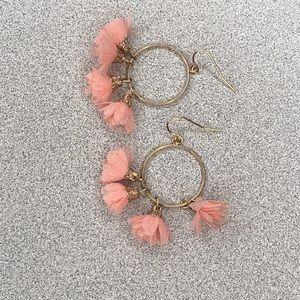 Jewelry - Pink petals hoop earrings